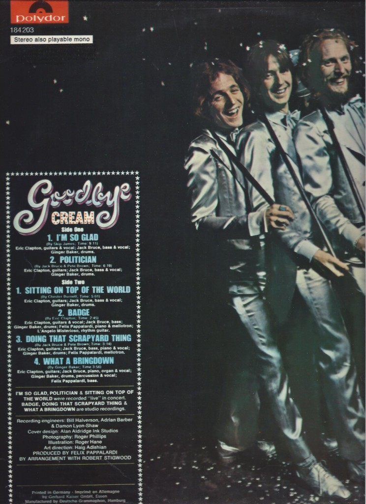 Cream Goodby 1969 LP cover - back side